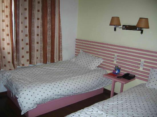 Gulou Holiday Hostel: 我们住的房间,窗子打开会看到其它的屋顶