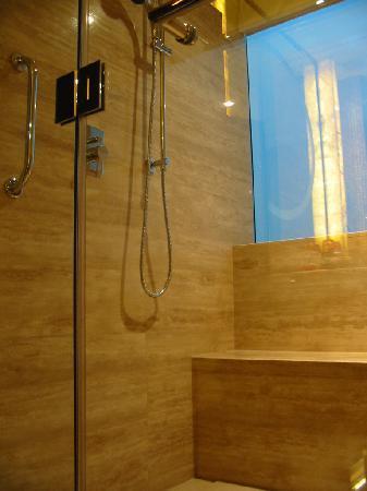 Suzhou Marriott Hotel : 淋浴可以坐着,还可以俯览苏州