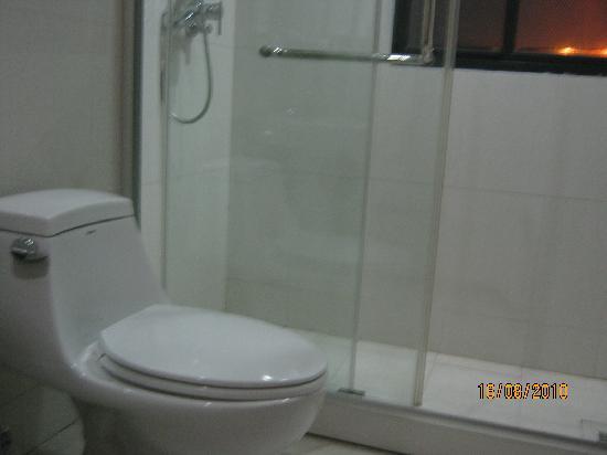 A8 Holiday Hotel: 浴室和卫生间在一起,用玻璃门中间隔开。