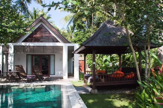 The Samaya Bali Ubud: 我们住的villa,一个卧室、配私人泳池和亭子,墙外就可以看到河对岸的梯田