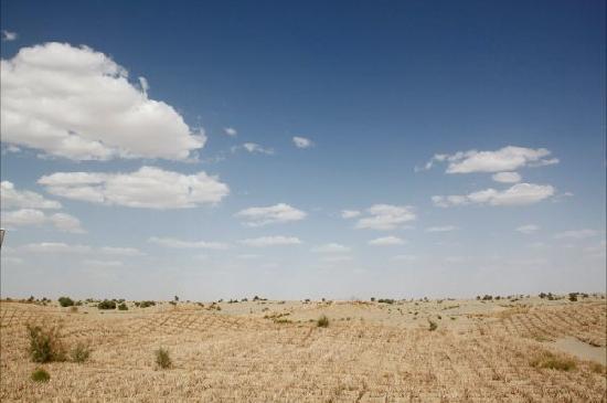 Qiemo County, الصين: 找不到边的蓝天与黄沙