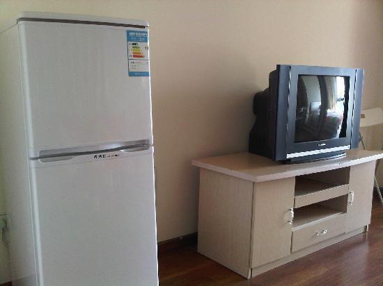Love Chengdu Apartment Hotel Chengdu Wangfujing: 电视和冰箱