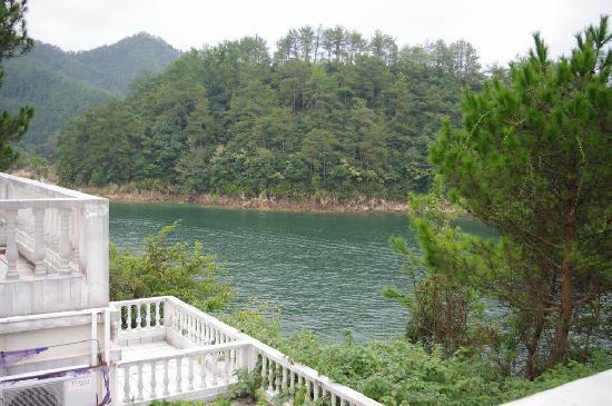 Qiandaohu New Phoenix Resort: 唯一能看见点点湖景的一侧!还是岛内弯的点点湖水