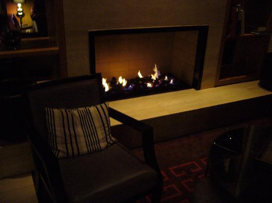 Adina Apartment Hotel Berlin Checkpoint Charlie: 大堂里晚上温暖的火炉
