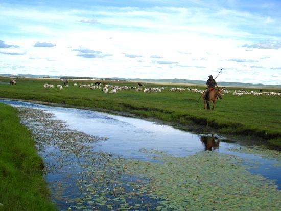 Inner Mongolia, China: 七仙湖边放马的汉子