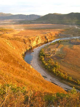 Inner Mongolia, Kina: 夕阳下,金色月牙湾
