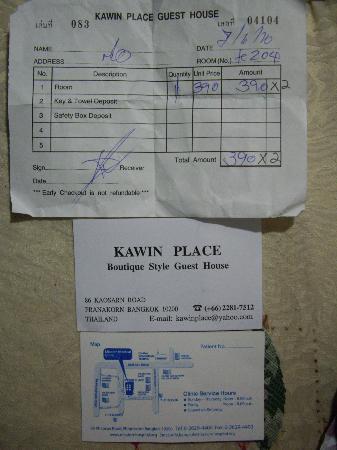 Kawin Place Guesthouse: 旅馆名片