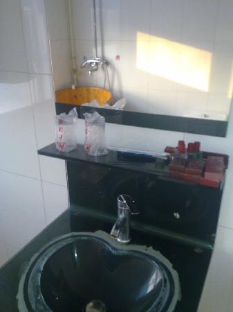 Dawu Hot Spring City : 酒店卫生间的洗手台