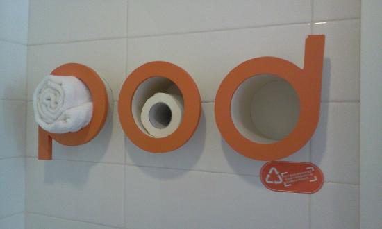 Pod Inn Hangzhou Wulin Plaza: 特别的放毛巾的地方,在布丁的LOGO里面