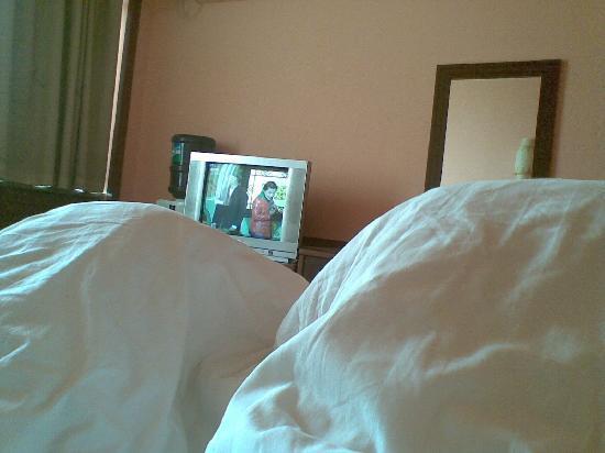 Zhaoyuan Hotel : 床对面的镜子让人不舒服