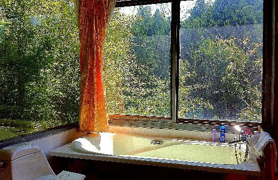 Fengyue Landscape Inn : 玻璃房浴缸