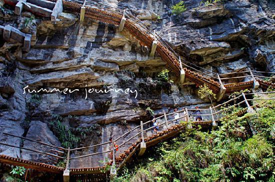 Jindao Canyon Scenic area: 峡谷内的栈道