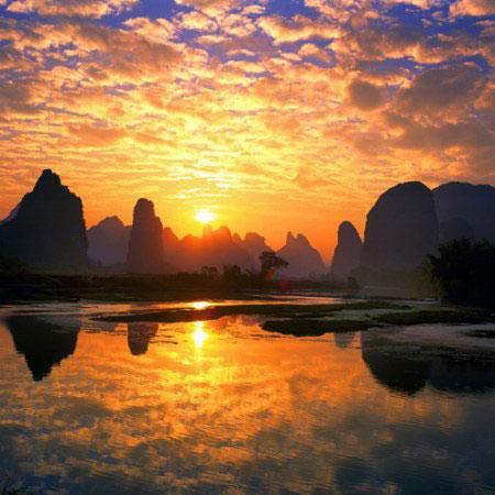 Ziyuan County, China: 夕阳美景