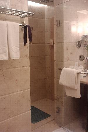 Jin Feng Hotel: 卫生间的淋浴间,浴缸在画面右边