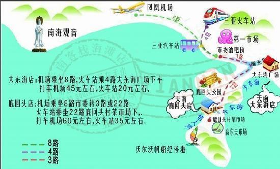 Tianlan Holiday Inn Sanya Dadonghai : 天南客栈交通示意图