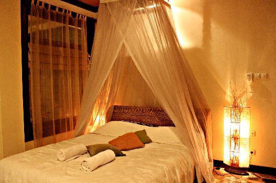 Puri Bayu Guest House : 房间里的公主床。