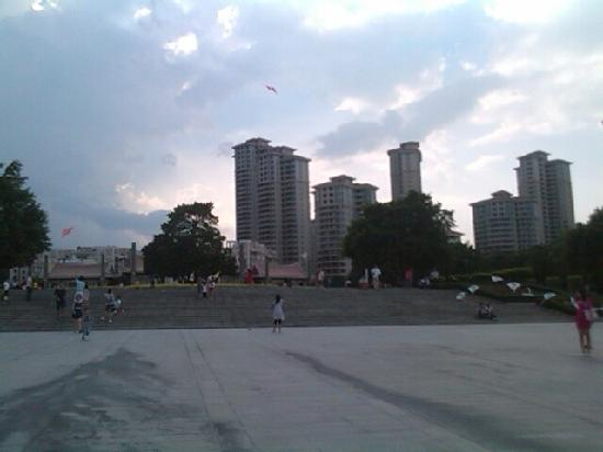 West Lake Park: 很多大人带着小孩在放风筝