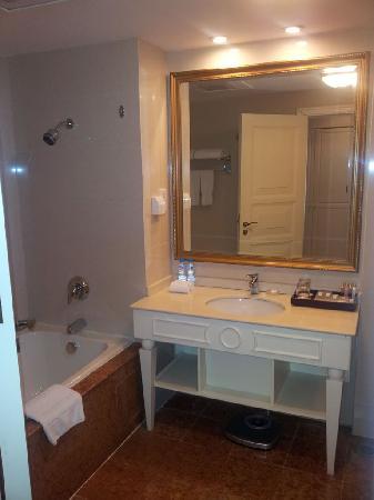 Eiffelton Hotel: 卫生间洗漱台和浴缸