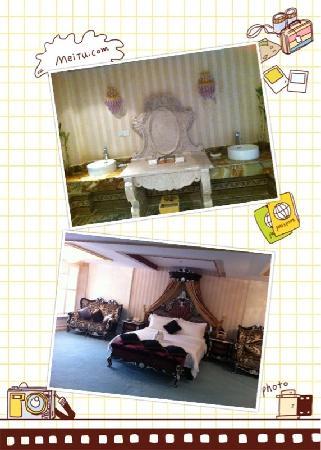 Xinglong Old Banyan Tree Hot Spring Resort : 总统套房的卧室和卫生间一角