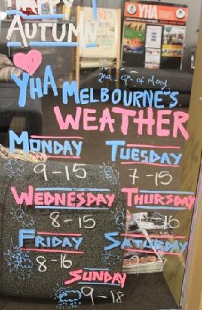 Melbourne Central YHA: 墨尔本Yha可爱的天气预报