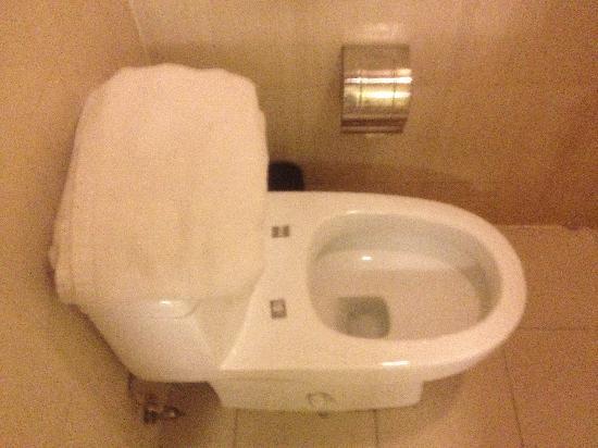 Hanting Hi Inn Hangzhou Wensan Road: 这就是给我们用的没盖的马桶和放在上面的浴巾,晕。。。。