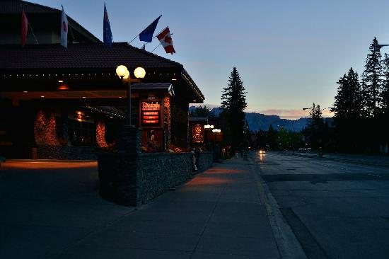 Elk + Avenue Hotel: early morning of the  Banff  international hotel-----from pakking photo