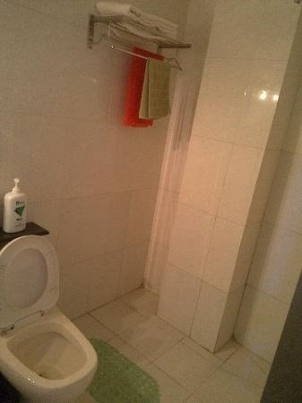 Xinluo Hotel: 厕所不大,但也没那么拥挤。卫生还不错。