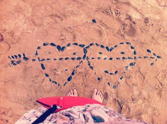 Huludao, China: 葫芦岛沙滩的爱心