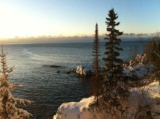 Bluefin Bay on Lake Superior:                   outside the window