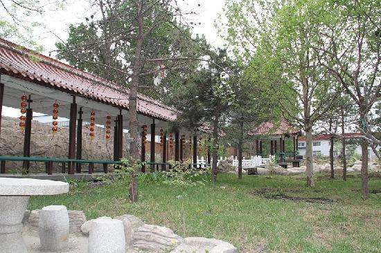 Dashiqiao, Chiny: 室外凉亭,后面就是鱼塘