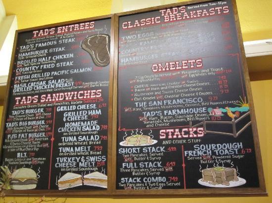 Tad's Steakhouse : 菜单