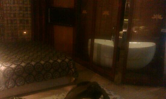 Milan Continental Hotel : 从房间门口拍的床和浴缸