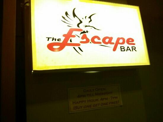 The Escape bar: the sign of Escape cafe