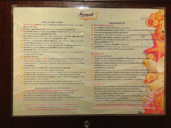 Lanta Mermaid Boutique House: 酒店房间门后的宾客须知2