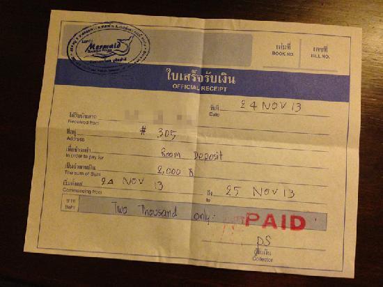 Lanta Mermaid Boutique House : 2000铢(一间)押金收据