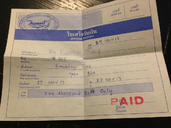 Lanta Mermaid Boutique House : 酒店1000铢罚款收据