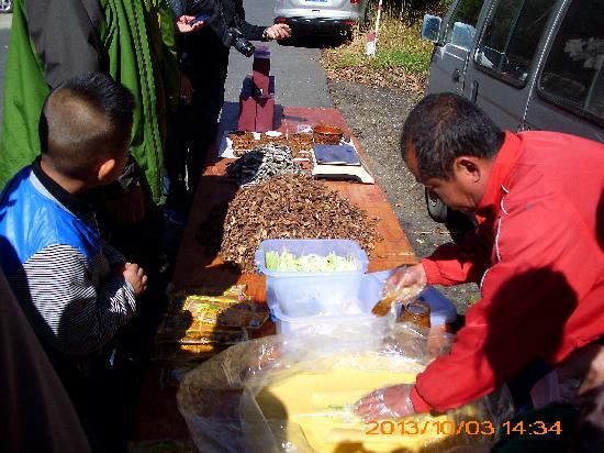 Huadian, China: 门口的小商贩,卖灵芝,蘑菇等。(尽量别买,骗人东西还贵)