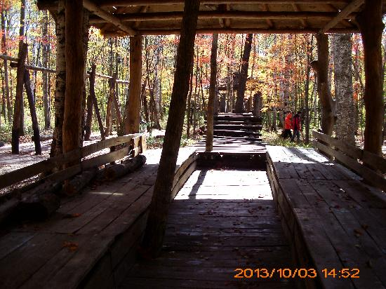 Huadian, China: 供游客休息的木屋
