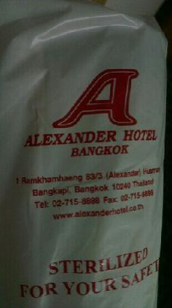 Alexander Hotel Bangkok : 酒店提供的杯