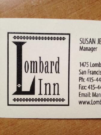 Lombard Motor Inn: 这就是酒店给的订房名片了