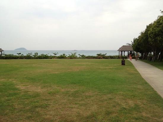 Sanya Bay Mangrove Tree Resort: 穿过草坪就是海