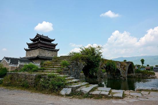 Jiangyong County, Kina: 上甘棠村文昌阁、步瀛桥
