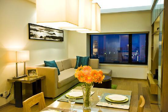 سومرست إنترناشونال بلدنج تيانجن: 豪华一房式公寓-客厅