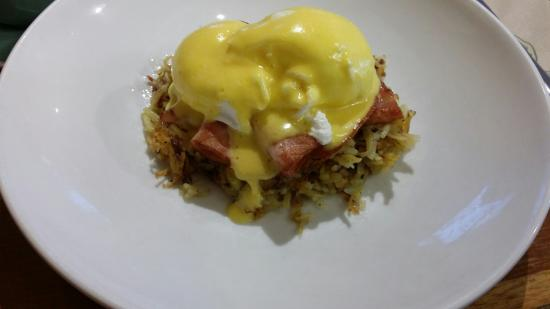 """Bubble and Squeak"" Herb rosti cakes, poached eggs, free range apple honey ham and home made hol"
