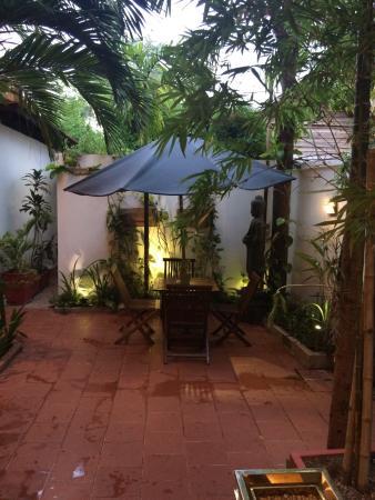 MotherHome Guesthouse: 大堂前的小院,我和朋友夜里坐了一下,精致安静。