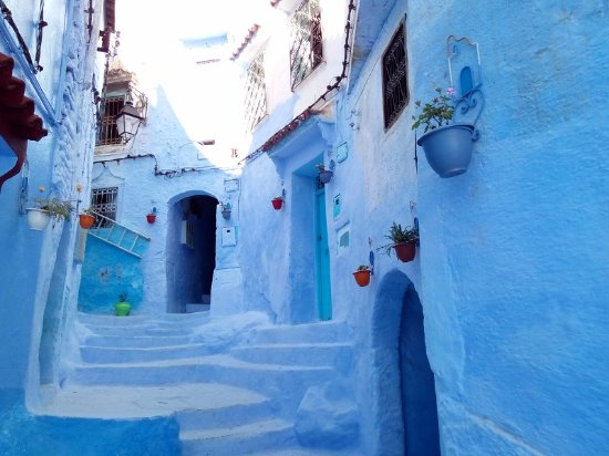 Chefchaouen, Fas: 粉蓝的建筑,梦幻般的存在。
