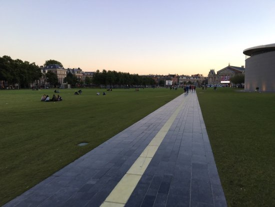 Museumplein: beautiful square with sunset