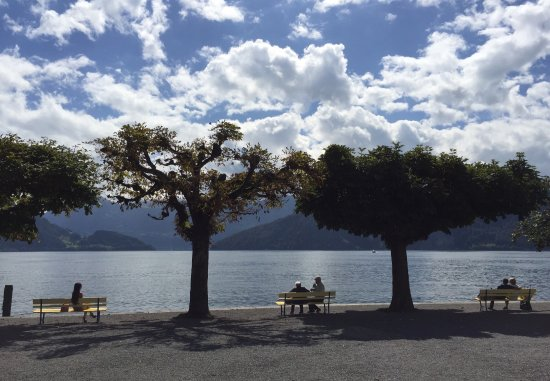Post Hotel Weggis: 酒店楼下的景色真的是美嗨了!琉森湖边静静的吹着风,看云卷云舒,慵懒的晒着太阳,发发呆,任时光流逝。真的好喜欢这样的慢生活……