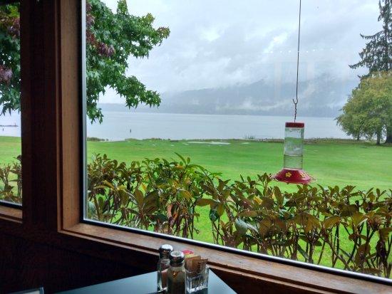 Quinault, วอชิงตัน: 有特色的三文鱼餐厅,景色环境非常美。食物量很大。