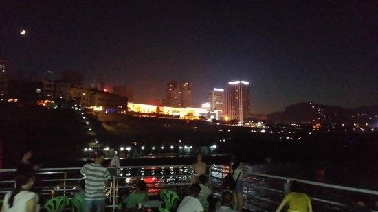 Yunyang County, China: night view张飞庙与云阳县夜景